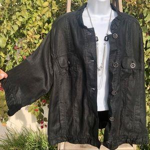 Chico's Black Linen Jacket w/Ruffles.